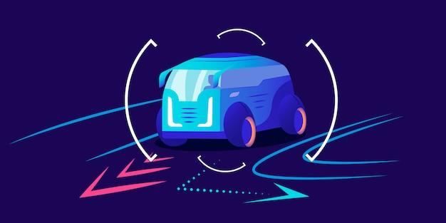 Цветная иллюстрация автомобильной навигации. умная помощь водителю, прогнозирование движения автомобиля, интерфейс системы анализа трафика. ван принимает поворот на синем фоне