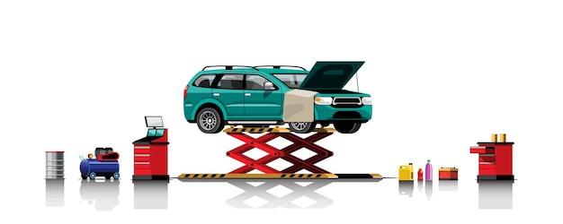 修理および保守サービスのためのホイスト上の自動車