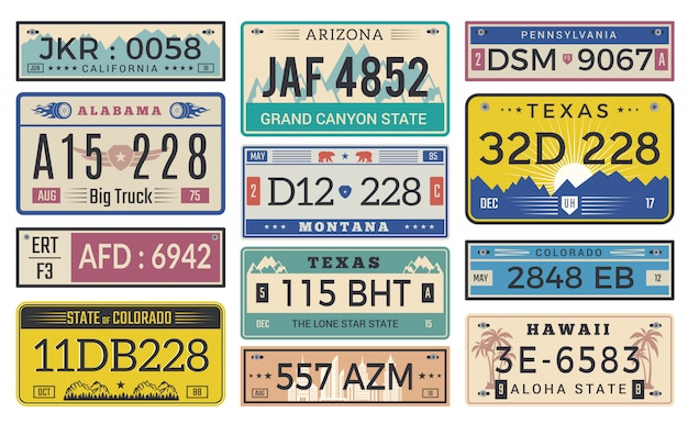 自動車プレートのライセンス。ユタ州またはインディアナ州の異なる州の車登録テンプレートベクターデザイン