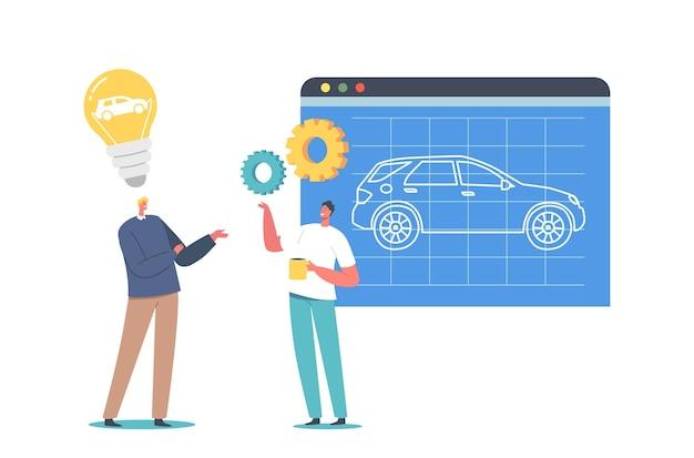 自動車のプロトタイピングプロセス。画面上の新しい自動車、自動車技術、機械ビジネス、自動車作成のプロジェクトを提示するエンジニアデザイナーキャラクターのカップル。漫画の人々のベクトル図