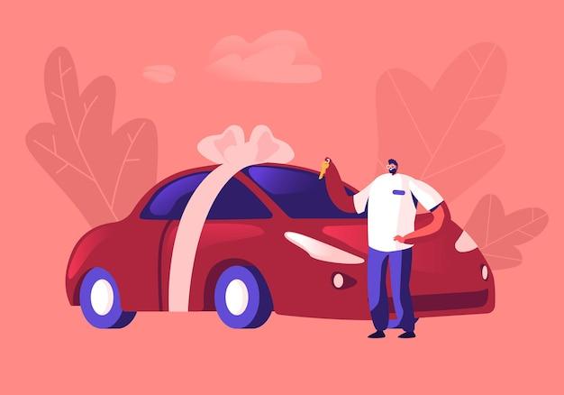 自動車購入の概念。お祝いの弓で包まれた新しい赤いセダン車の近くに立っている手でキーを保持している男性の買い手または売り手。漫画フラットイラスト