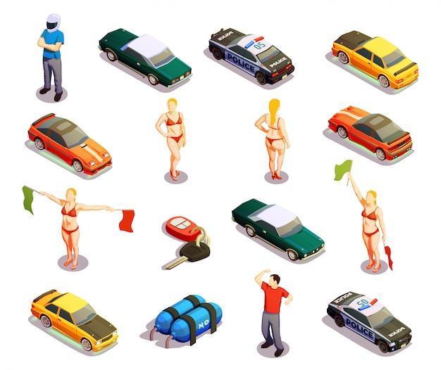 Automobile racing icon set