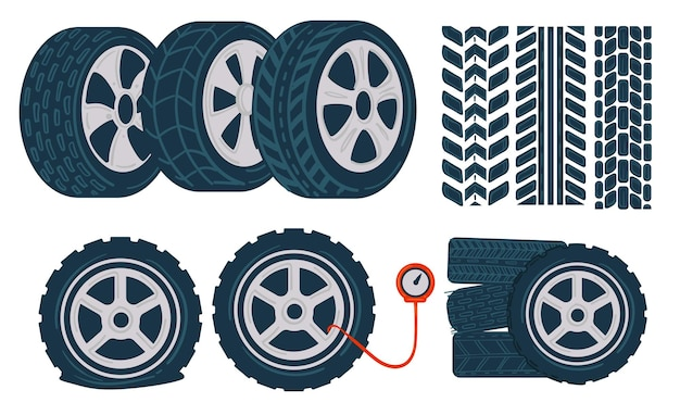 Automobile service and maintenance, isolated icons of rubber car tyres, tracks and equipment for measuring level of inflation and pressure in wheel