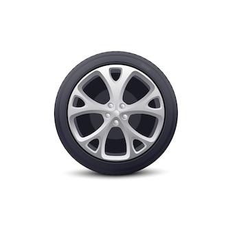 금속 디스크와 고무 타이어 프로텍터가있는 자동차 휠. 자동차 수리 차고 및 딜러를위한 차량 부품.