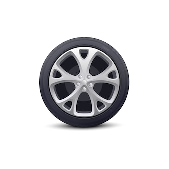 Automobile wheel with metallic disk and rubber tire protector realistic . vehicle part for car repair garages and dealers.