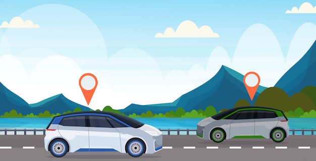 Automobile with location pin on road online ordering taxi car sharing concept mobile transportation carsharing service mountains river landscape background flat horizontal