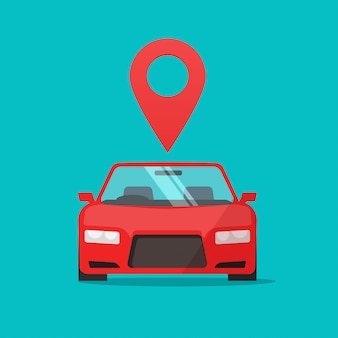 Automobile with map pointer marker online as location sign