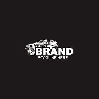 Автомобильный автомобиль черный и шаблон логотипа