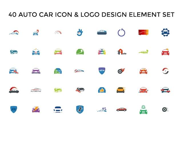 Automotive car icon logo design set