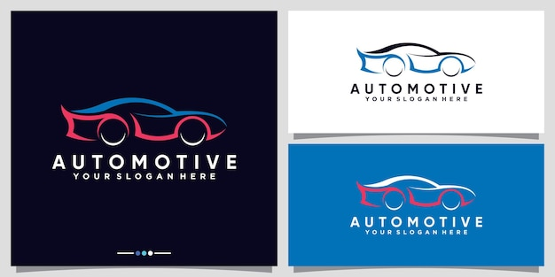 Automotive car logo design with modern futuristic concept premium vector