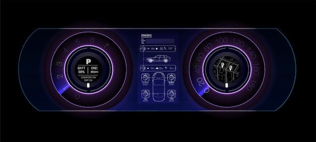 Автомобильная приборная панель будущего. гибридный автомобиль. диагностика и устранение поломок. синий. стиль hud. образ.