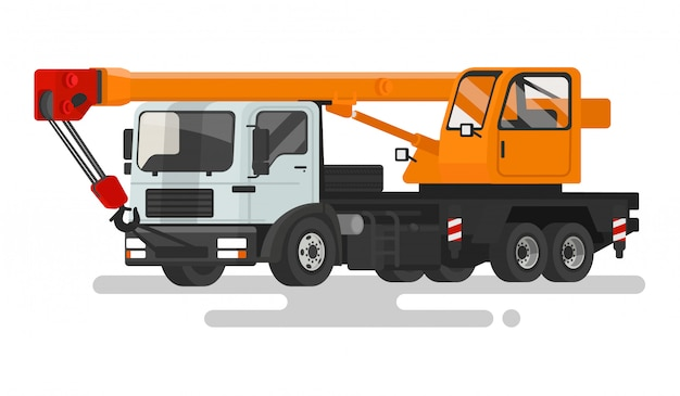 Automotive heavy crane on a white background.   illustration
