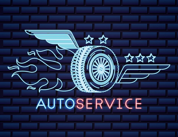 Automotive industry neon sign