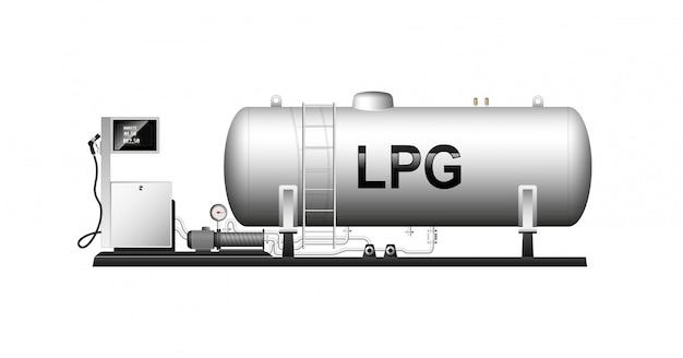 Автомобильная модульная заправка сжиженным газом. большой цилиндрический баллон с природным газом. сжиженный газ. колонка со шлангом для заправки авто.