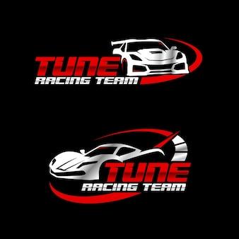 Automotive racing team logo design vector