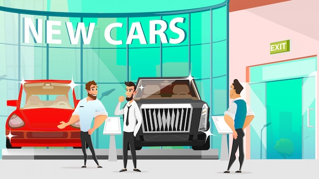 Automotive showroom, car dealers and vehicle buyer