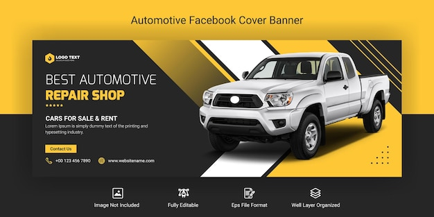 Automotive social media and facebook cover banner template