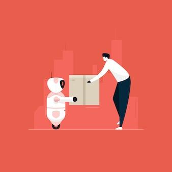 自律ai人工知能ロボットが小包、未来型ロボット配信サービスを提供しています