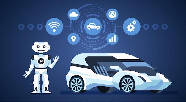 自動運転車。道路上の人工知能。
