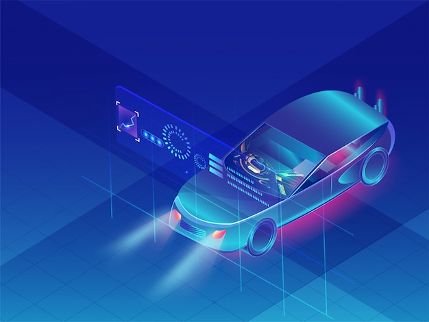 Autonomous car on blue background.