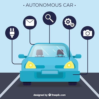 Autonomous car concept with flat design