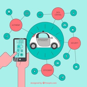 평면 디자인으로 자율적 인 자동차 컨셉