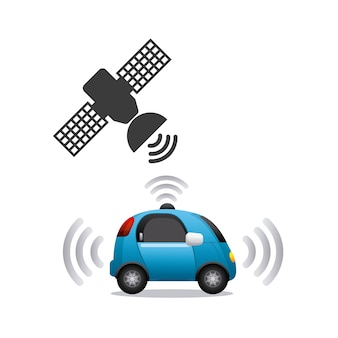 Autonomous car and satellite icon