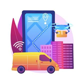 Illustrazione di concetto astratto di consegna autonoma. consegna con drone, nessun contatto umano, servizio di corriere automatizzato, robot autonomo, veicolo a guida autonoma, senza corriere.