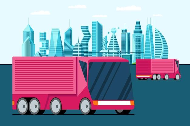 Автономный беспилотный беспилотный транспорт розовый грузовик на улице будущего мегаполиса. умный городской пейзаж городской экологически чистый трейлер векторные иллюстрации. современная концепция доставки транспорта