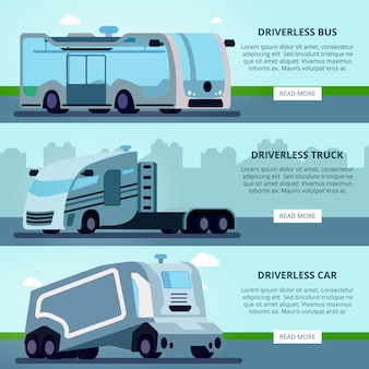 Autonomous driverless vehicles navigation systems banner