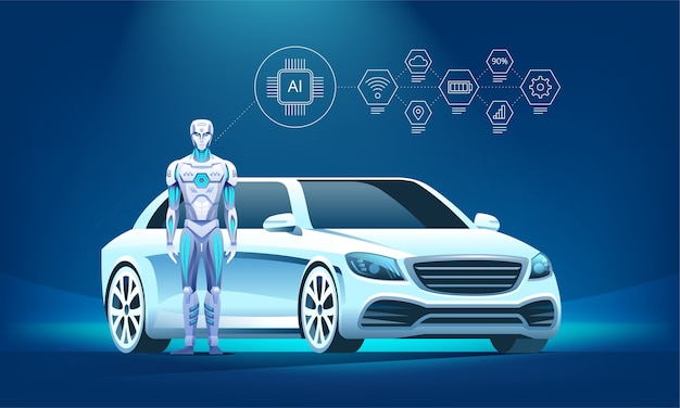 Autonomous luxury vehicle with robot and infographic icons