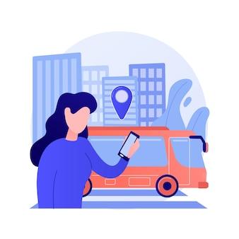 Illustrazione di vettore di concetto astratto di trasporto pubblico autonomo. autobus a guida autonoma, servizi di trasporto urbano, taxi intelligente, servizio stradale automatico, autobus pubblico, treno urbano, metafora astratta del traffico.