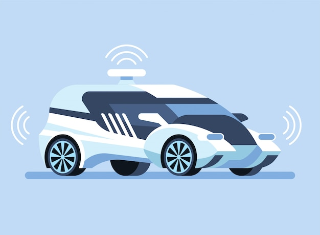 Autonomous self-driving car illustration