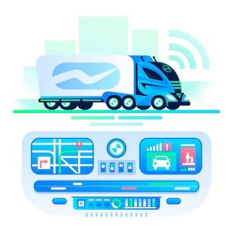 Автономный самоходный грузовик на дороге