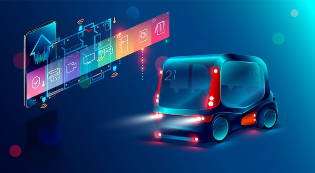 Autonomous smart bus, display shows information about the vehicle is moving