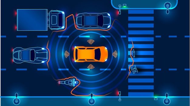 Autonomous smart car goes on the road in traffic. scans the road, observe the distance