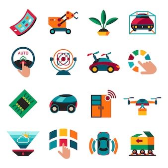 Autonomous transportation technology icons set