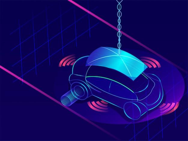 Autonomous vehicle on blue background.