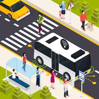 Autonomous vehicle isometric composition