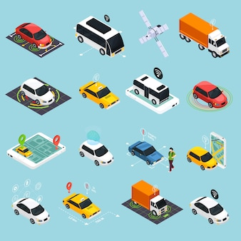 Autonomous vehicle isometric icons set