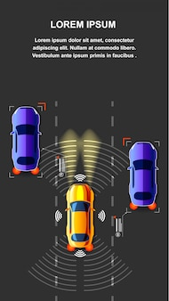 Autonomus car traffic top view vector illustration