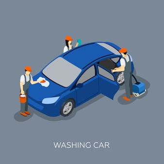 Autoservice team washing car isometric banner