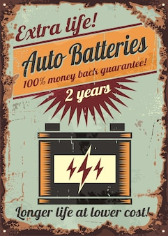 Autto batteries vintage rusty old sign design