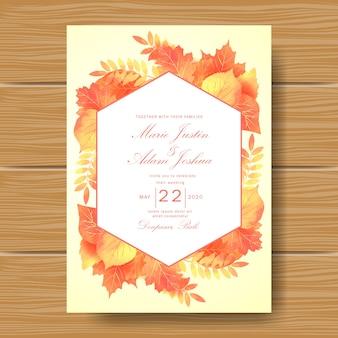 Приглашение на свадьбу с темой autum leaves