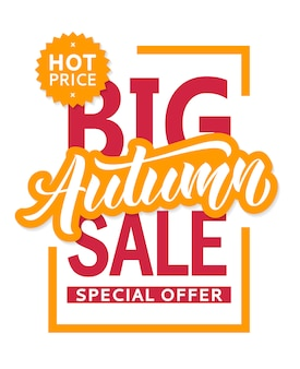Autum sale banner  template for flyer, invitation, poster, web site. special offer, seasonal sale advertisment.