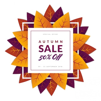 Autum sale with leafs