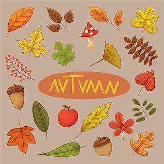 Шаблон коллекции осенних листьев
