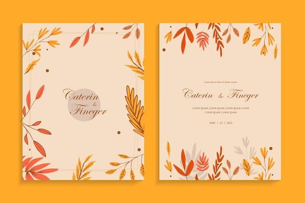 オータムヴィンテージスタイルの美しいラインアート花のウェディングカードの招待状