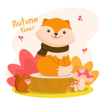 Autumm is happy with the fox on a stump with a squirrel holding a mushroom.