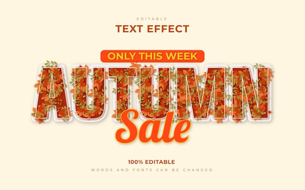 Autumn 3d editable text effects with abstract autumn leaves